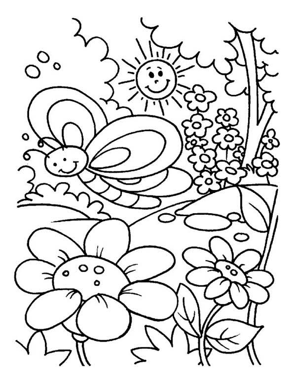 Garden colouring pages for kids