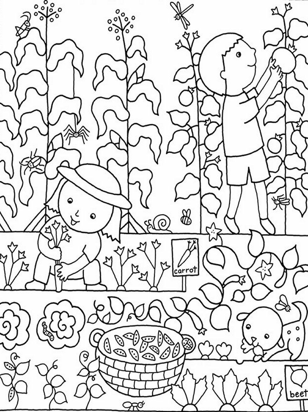 garden colouring pages for kids gardening coloring pages to download and print for free pages kids colouring garden for