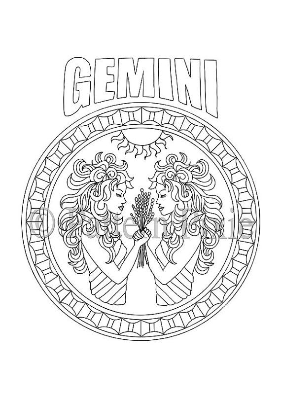 gemini zodiac coloring pages adult coloring page zodiac gemini 12 signos del zodiaco zodiac coloring pages gemini