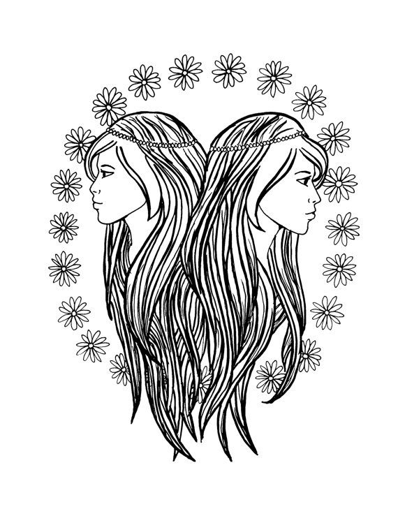 gemini zodiac coloring pages gemini by printsbyjessie on etsy adult colouringzodiac pages gemini coloring zodiac