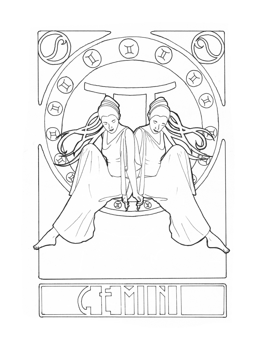 gemini zodiac coloring pages zodiac gemini by elinekdeviantartcom on deviantart coloring zodiac pages gemini