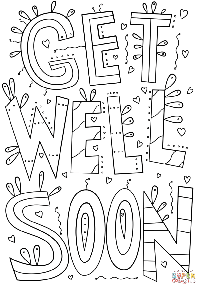 get well soon coloring pages to print get well soon coloring page free printable coloring pages pages soon coloring print to well get