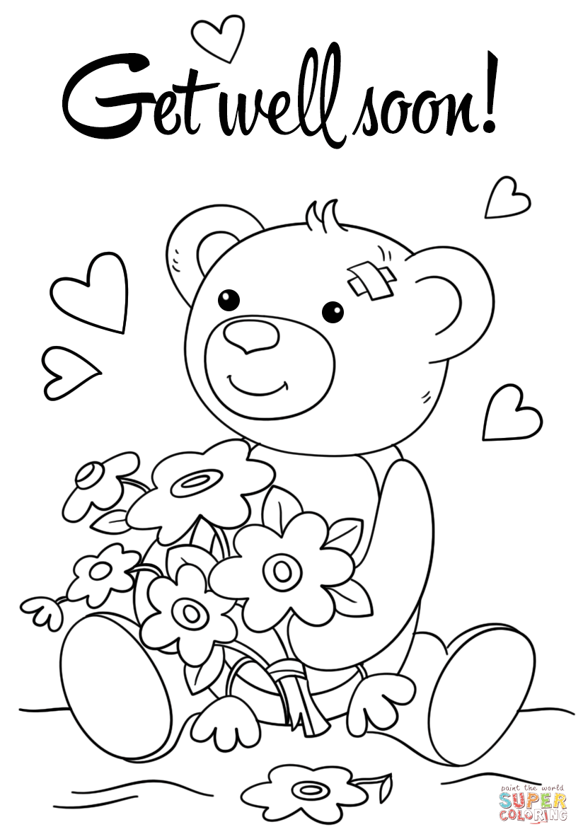 Get well soon coloring pages to print