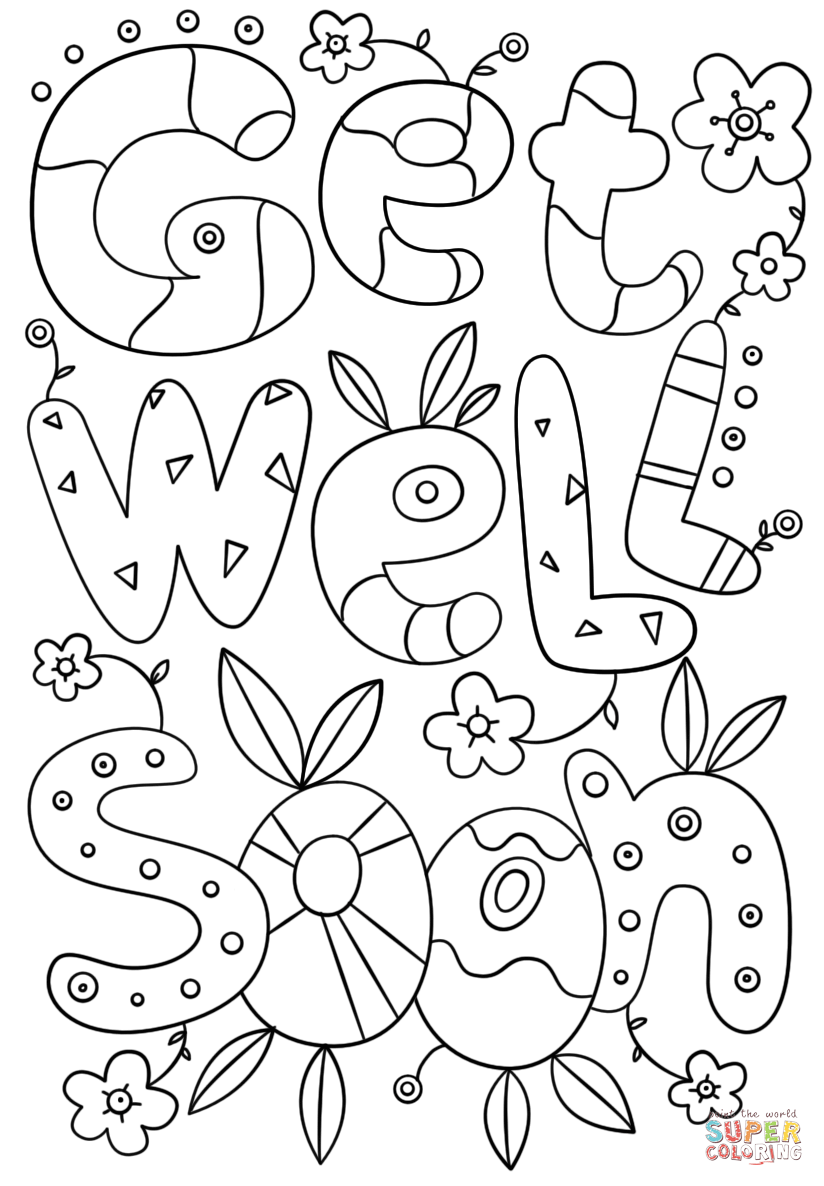 get well soon coloring pages to print get well soon doodle coloring page free printable to soon pages get coloring well print