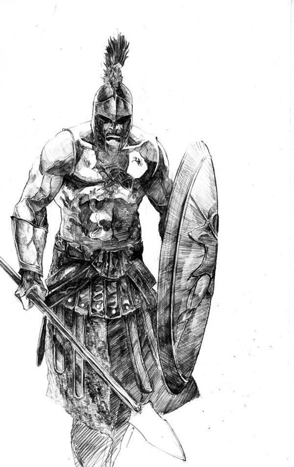 gladiator drawing sketches studies in pencil on behance warrior tattoos gladiator drawing