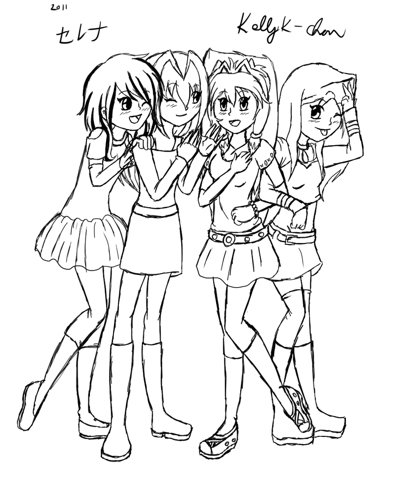 group of girls coloring pages anime girls group coloring page coloring home girls pages of coloring group