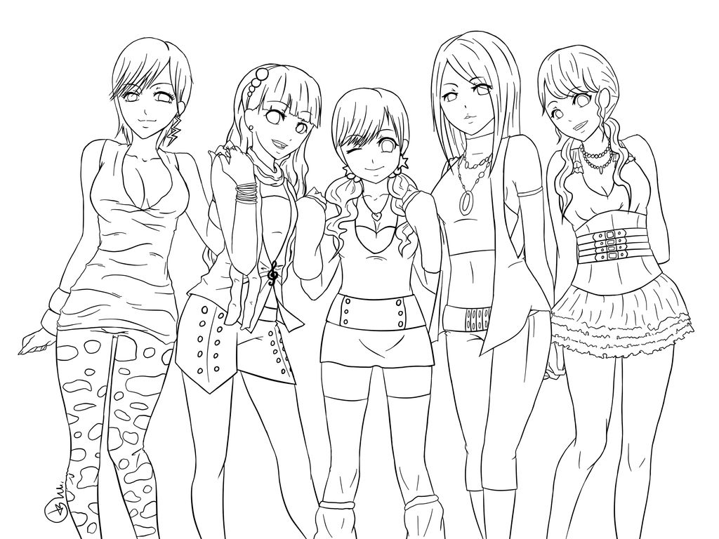 group of girls coloring pages anime girls group coloring page coloring home pages group girls of coloring
