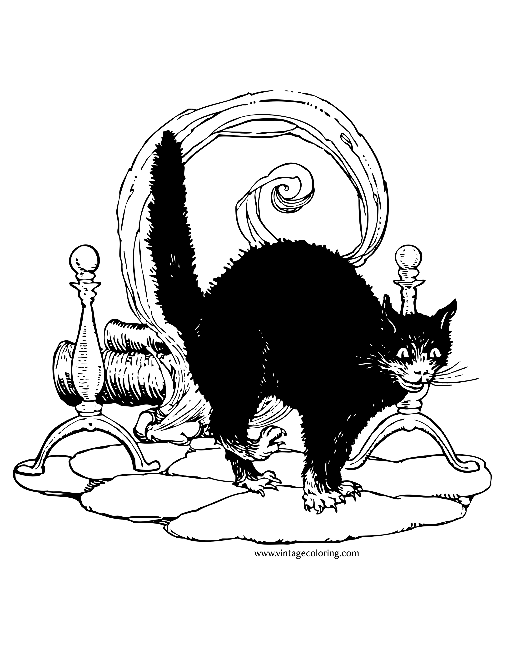 halloween black cat coloring pages halloween black cat a free vintage coloring page coloring halloween cat pages black