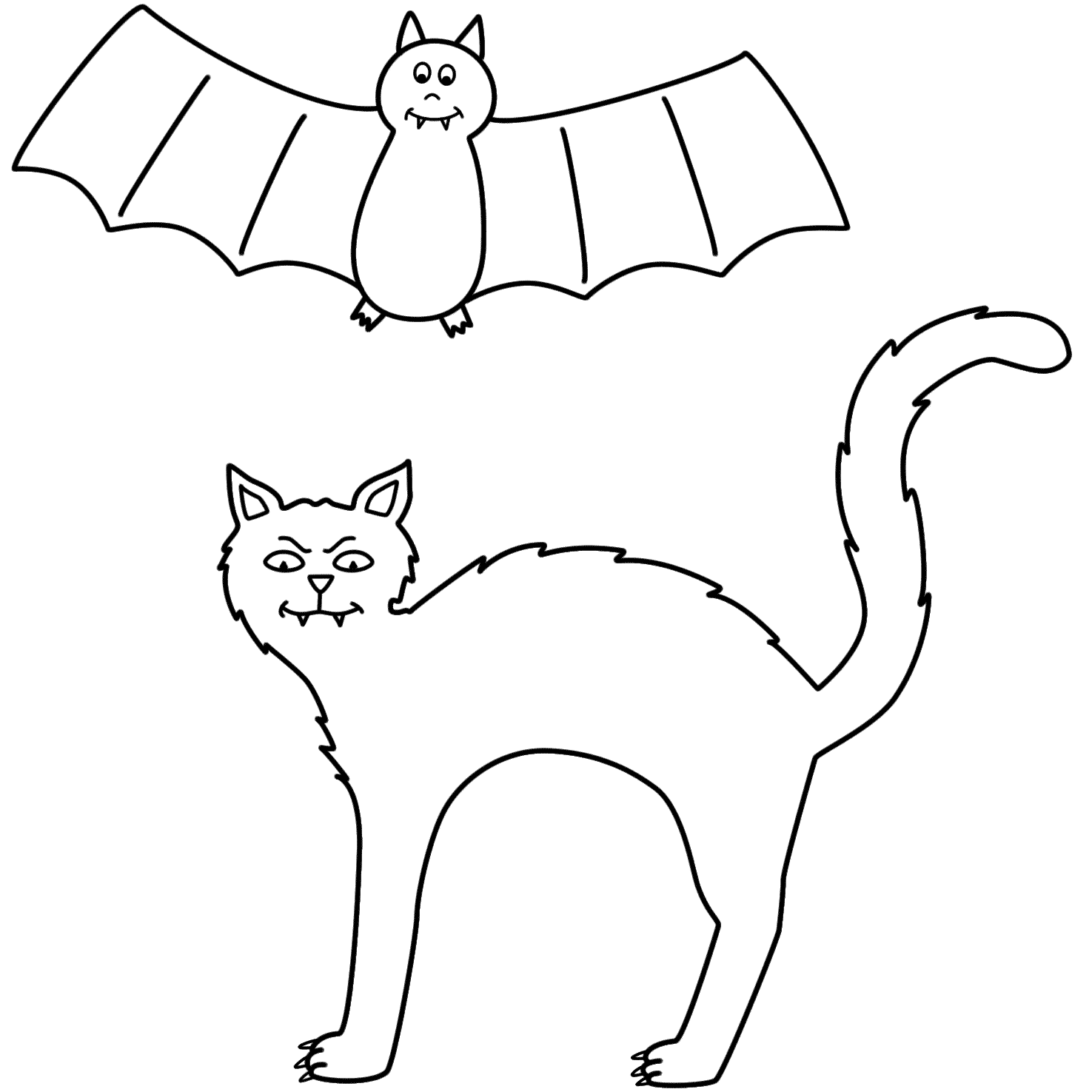 Halloween black cat coloring pages