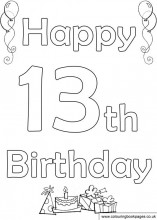 happy 13th birthday coloring pages 13th birthday coloring pages super duper coloring 13th happy birthday coloring pages