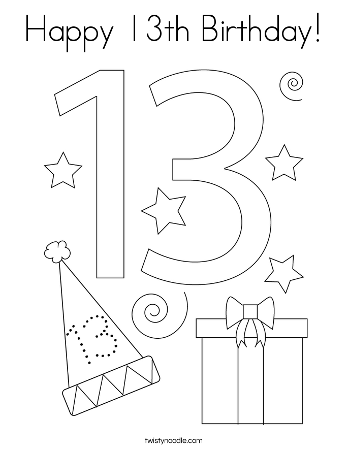 Happy 13th birthday coloring pages