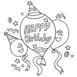 happy birthday cat coloring page a cat blowing a horn for happy birthday party coloring coloring birthday page happy cat