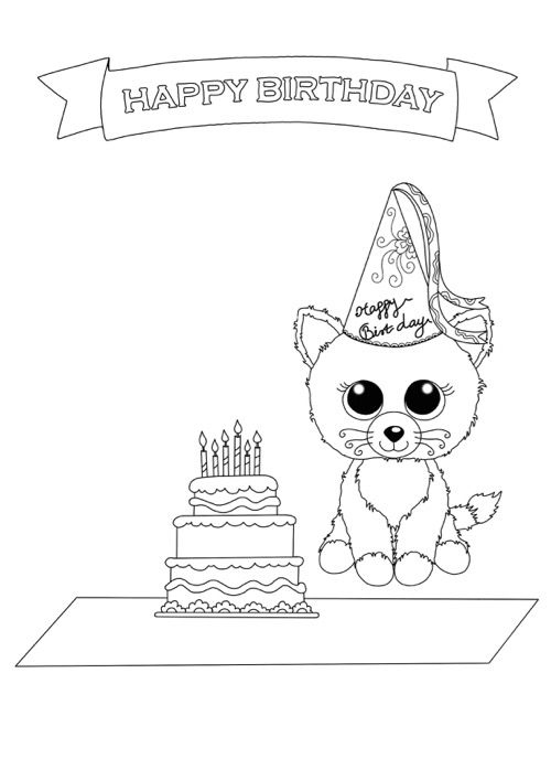 happy birthday cat coloring page beanie boo coloring pages birthday cat free downloadable happy page coloring cat birthday
