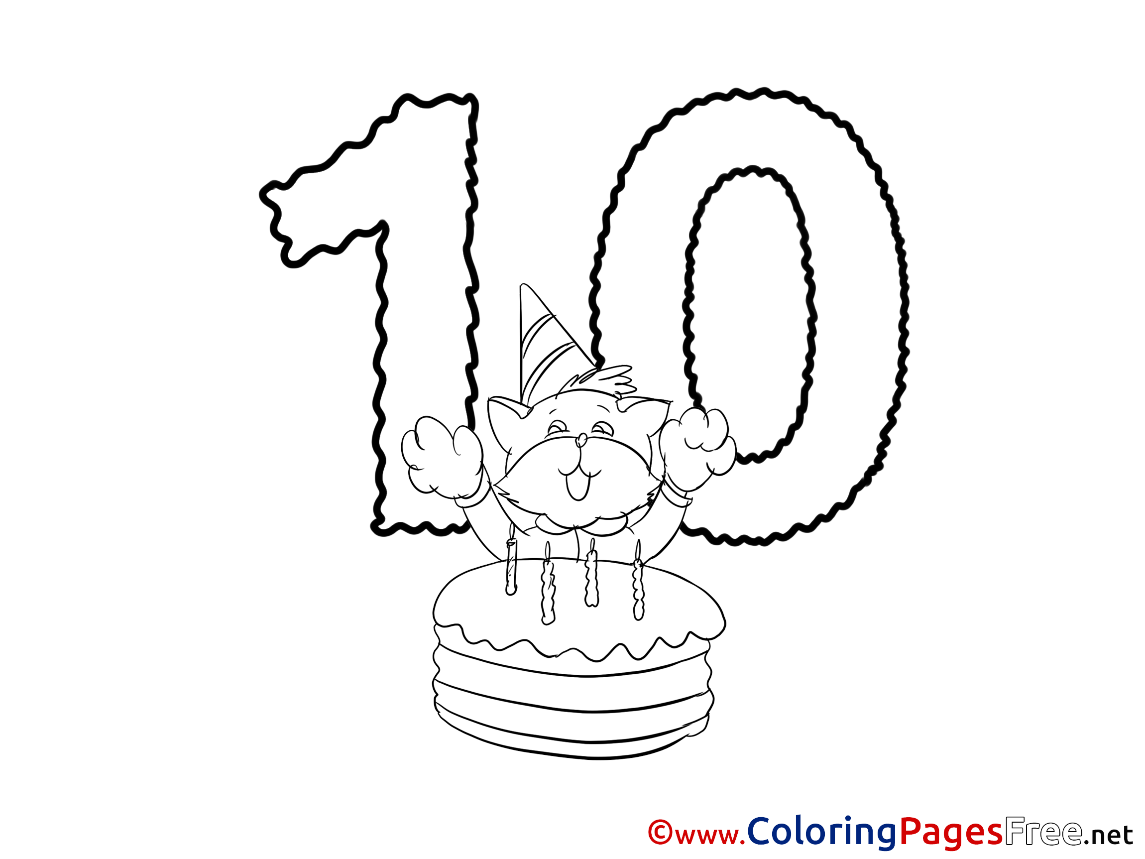 happy birthday cat coloring page cat 10 years happy birthday colouring sheet free cat birthday page happy coloring