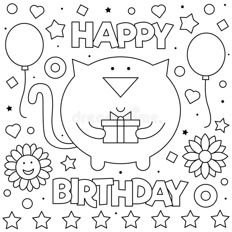 happy birthday cat coloring page dibujos para colorear cumpleanos papa happy page coloring birthday cat