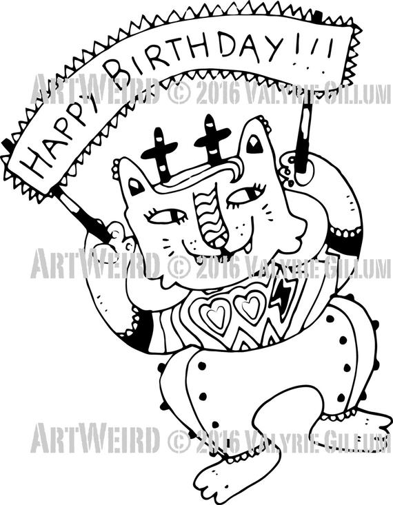 happy birthday cat coloring page digistamphappy birthday catkittycat digistampcat coloring cat happy birthday page