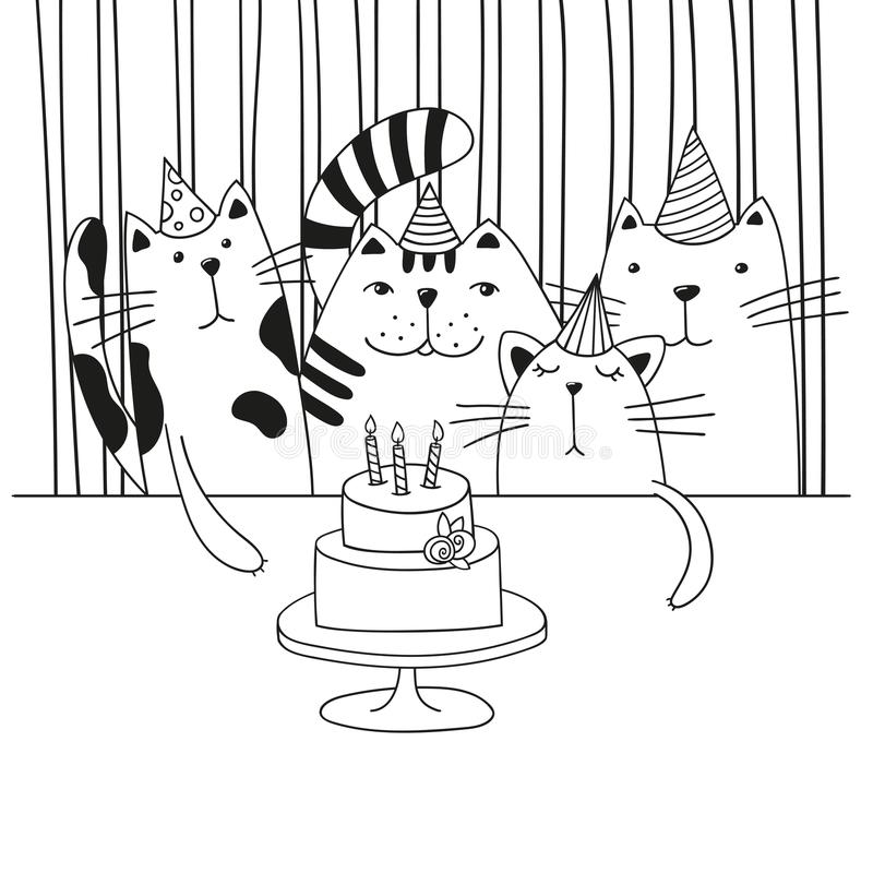 happy birthday cat coloring page happy birthday coloring page vector illustration of cat happy coloring birthday page cat