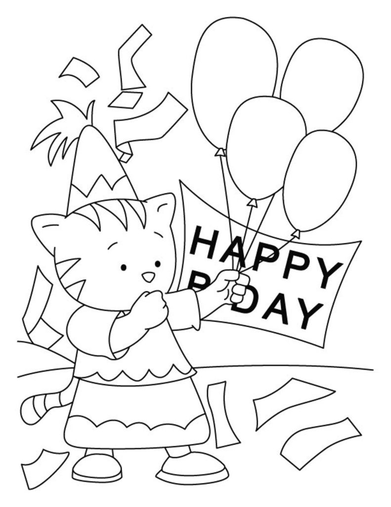 happy birthday cat coloring page happy birthday coloring pages coloringrocks page coloring birthday happy cat