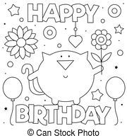 happy birthday cat coloring page happy birthday sign coloring page black and white cartoon cat birthday page happy coloring