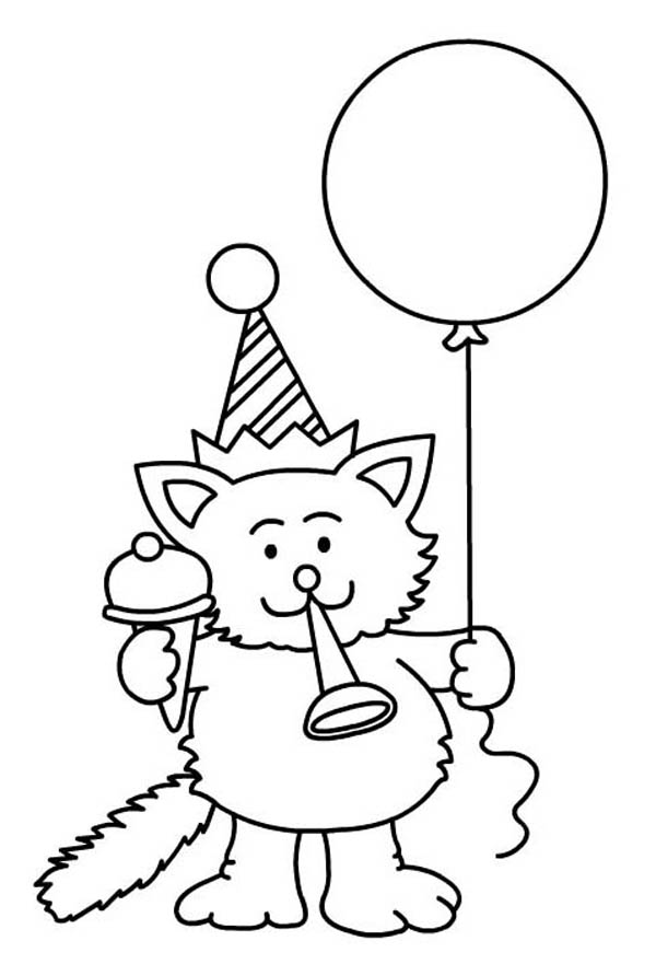 Happy birthday cat coloring page