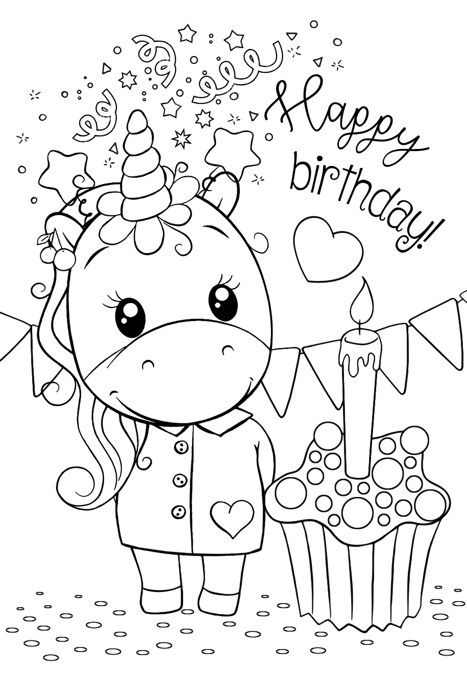 Happy birthday unicorn coloring pages