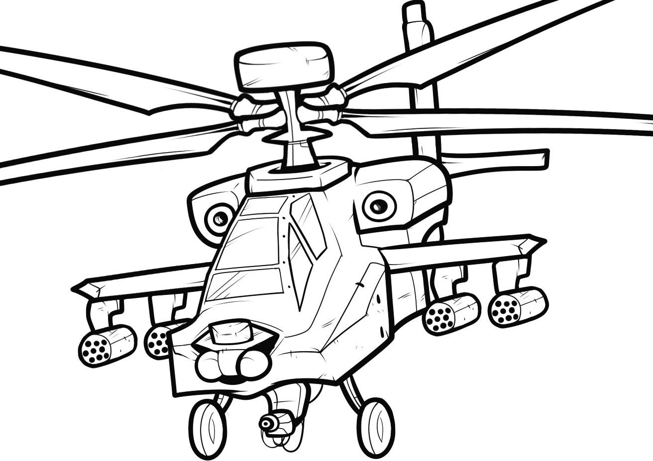 Helicopter colouring pages