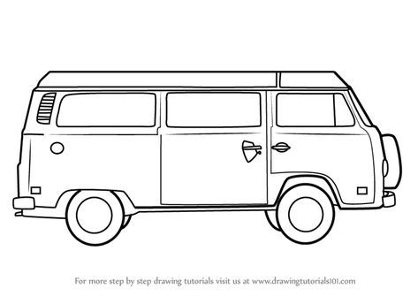 hippie van drawing black and white bus on road clipart collection cliparts hippie van drawing