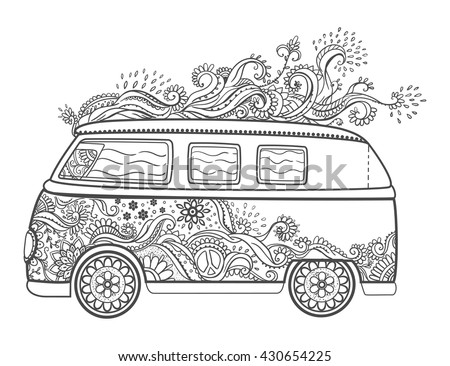 hippie van drawing royalty free rf clipart illustration of a black and drawing van hippie