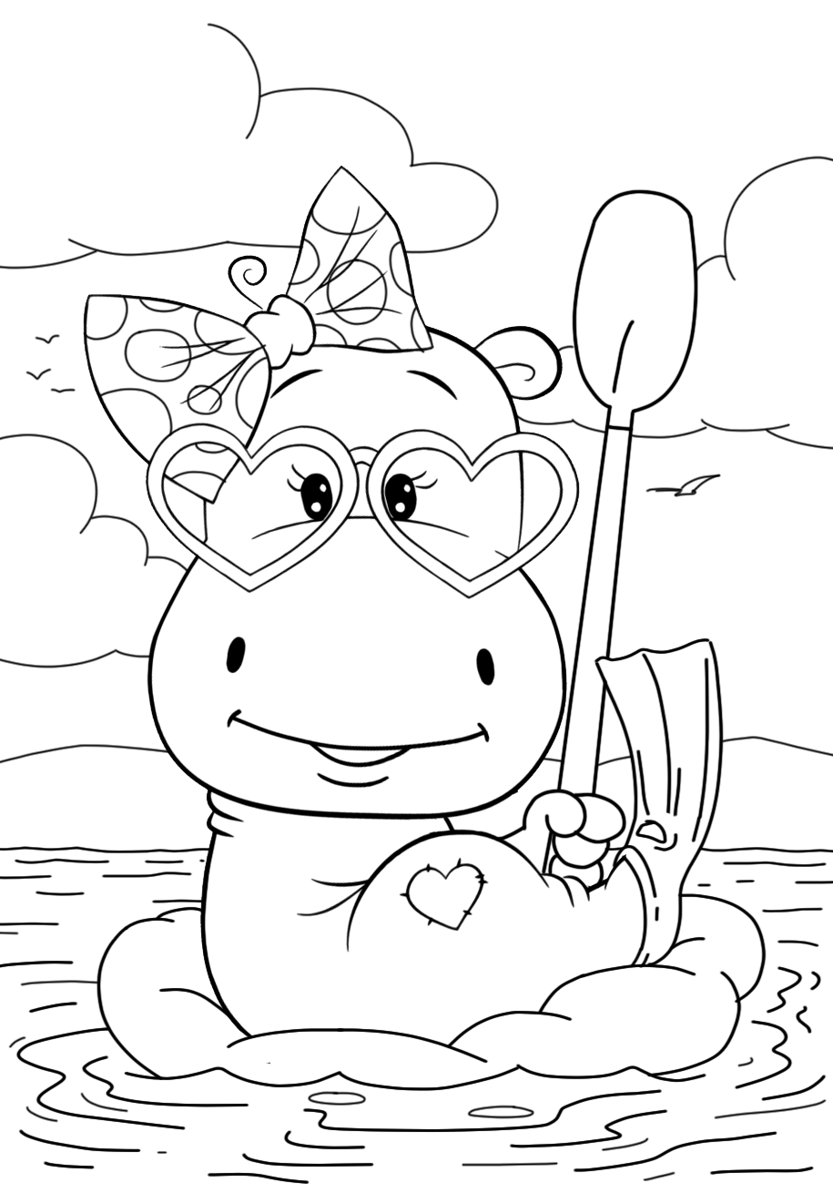 hippo coloring happy hippo coloring page hippo coloring