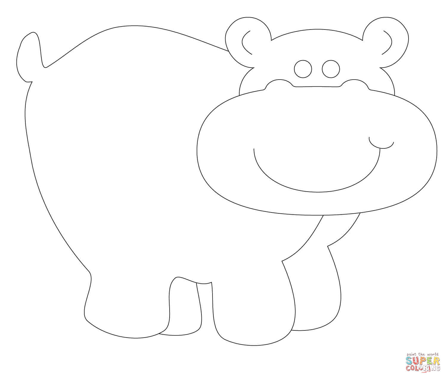 hippo outline drawing cartoon hippo drawing at getdrawings free download hippo outline drawing