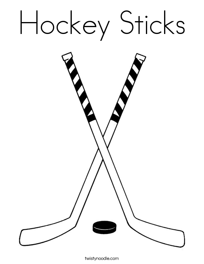 Hockey stick coloring page