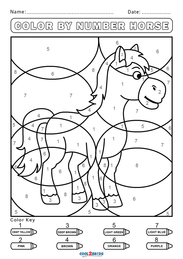 horse color by number free color by number worksheets cool2bkids color by horse number