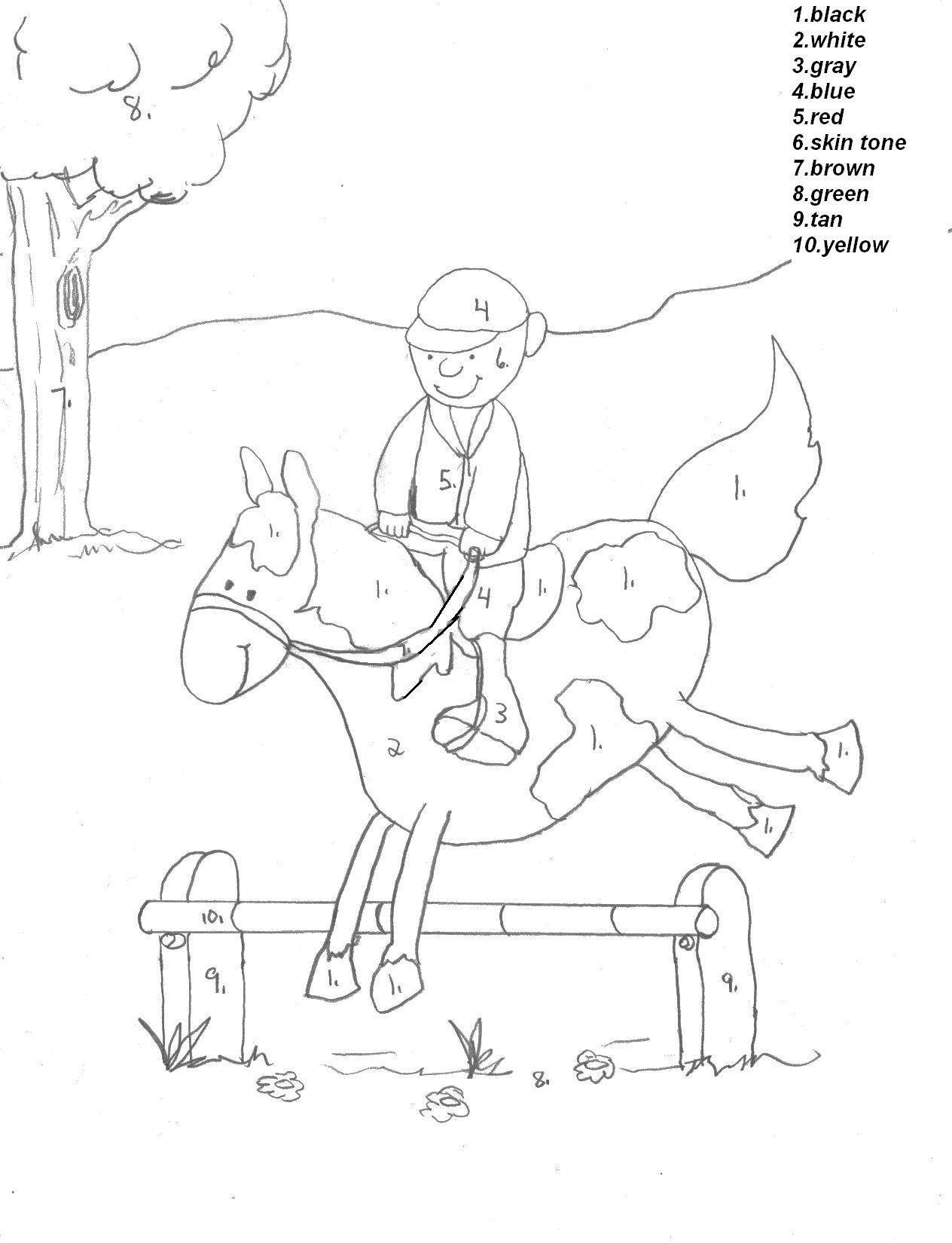 horse color by number kid boy on horse color by number coloring picture e by color number horse