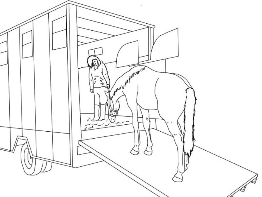 horse trailer coloring pages horse trailer drawing at getdrawings free download coloring trailer horse pages