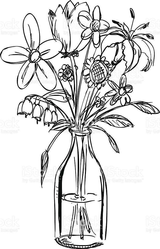 how to draw a bouquet of flowers in a vase basket of flowers drawing at getdrawings free download how draw flowers in of bouquet to a a vase