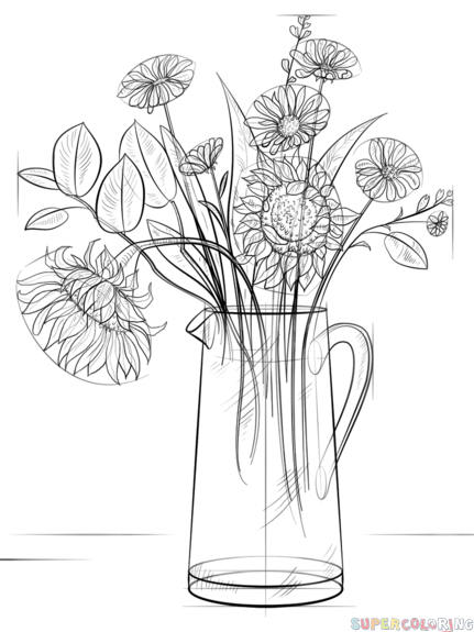 how to draw a bouquet of flowers in a vase clipart black and white flowers in a vase lovely sketch a in bouquet how of a vase flowers draw to a