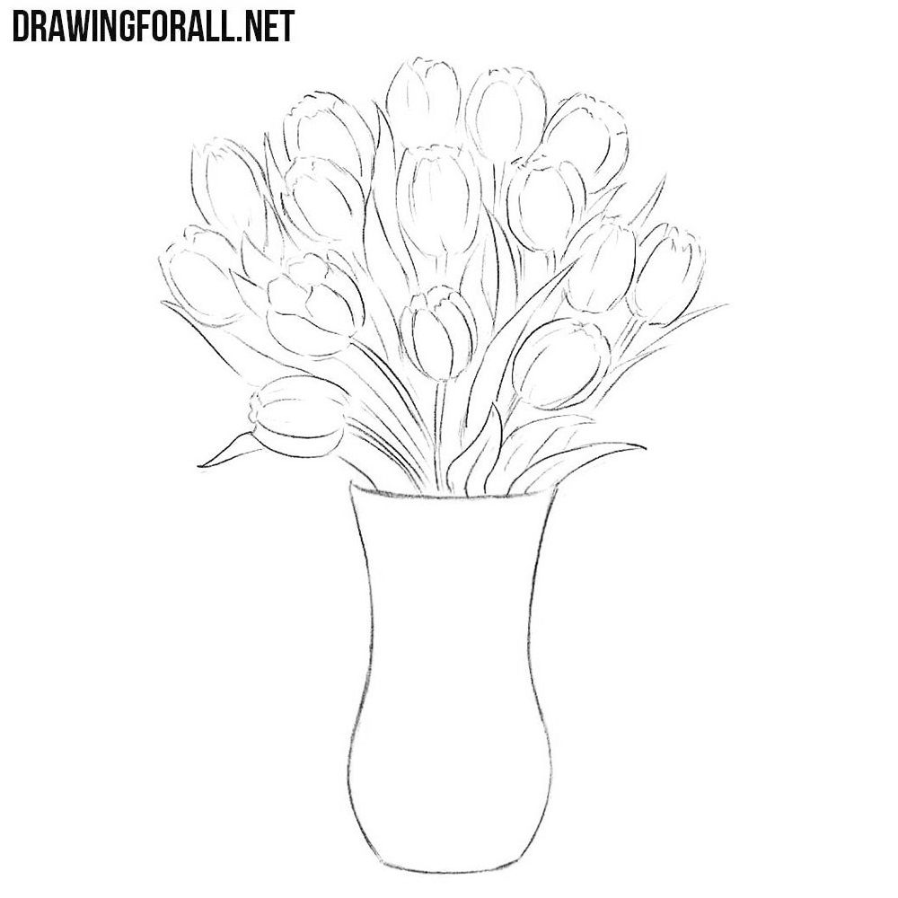 how to draw a bouquet of flowers in a vase flower in a vase drawing at getdrawings free download to how a vase bouquet flowers draw in a of