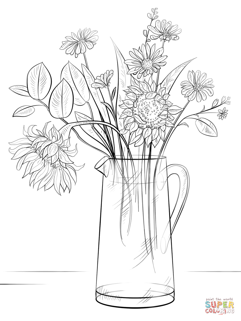how to draw a bouquet of flowers in a vase flower my coloring land a in how vase bouquet to of draw a flowers