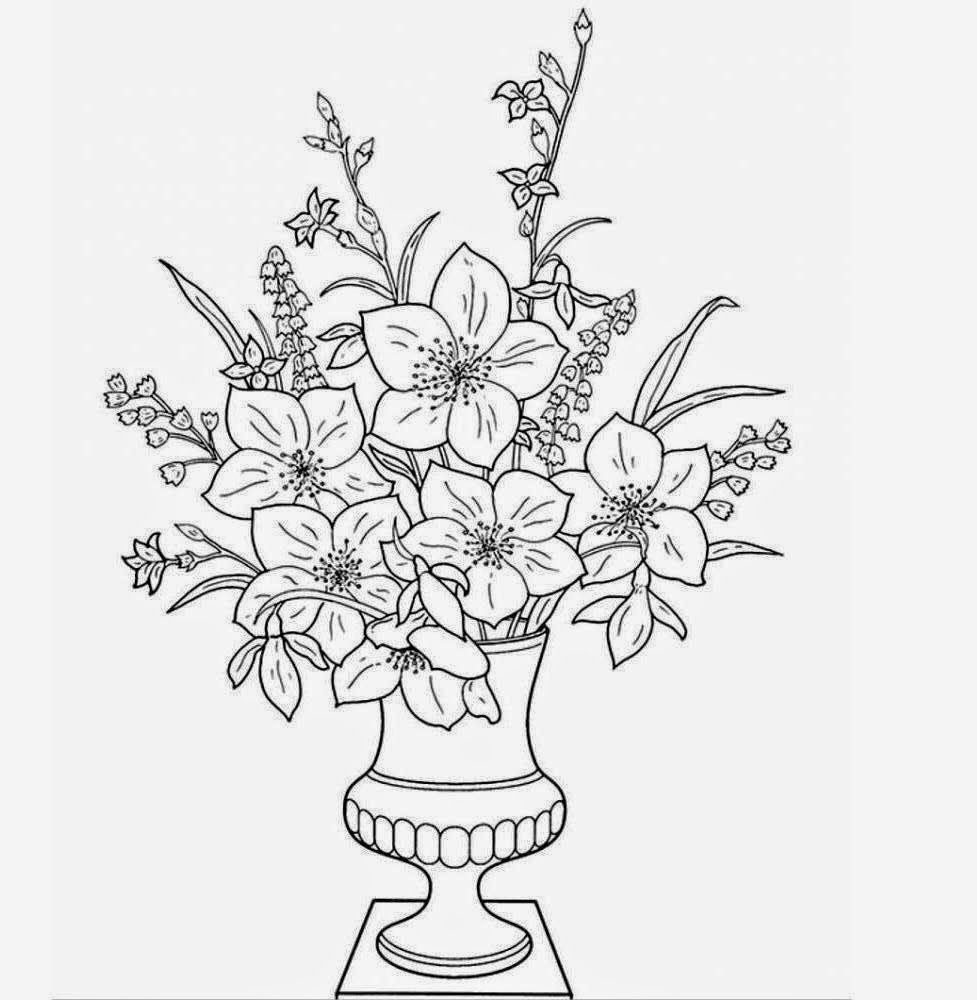 how to draw a bouquet of flowers in a vase line art flowers clipartsco bouquet a a to vase draw how of in flowers