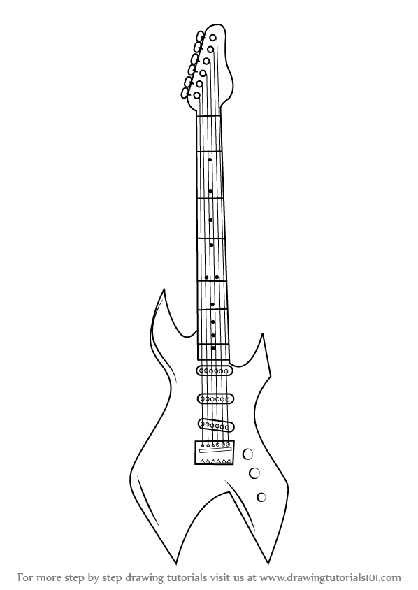 How to draw a electric guitar step by step