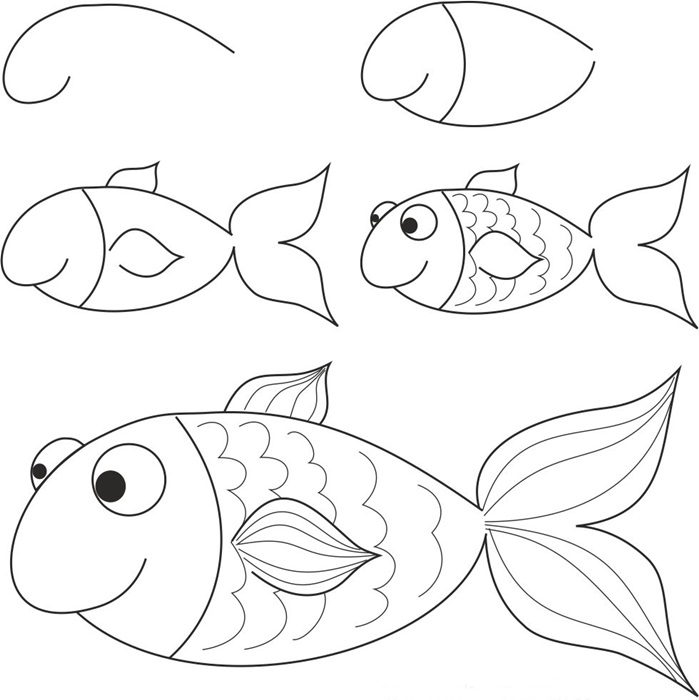 how to draw a fish drawing of simple fish 10 step by step lessons part 3 a how fish to draw