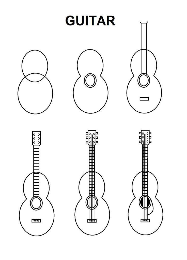 how to draw a guitar step by step how to draw a guitar drawingforallnet draw step guitar to by how a step
