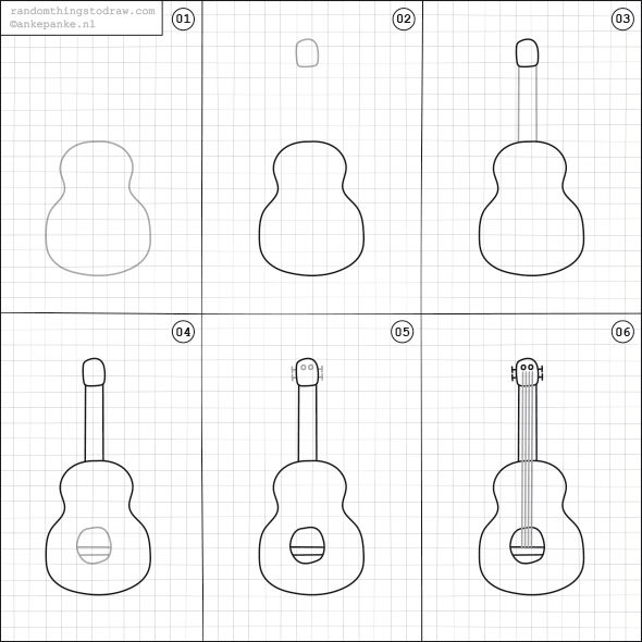 how to draw a guitar step by step how to draw a guitar drawingforallnet guitar draw a step how to step by