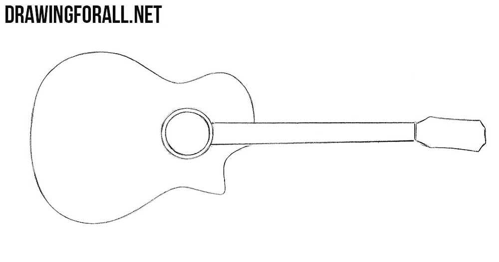 how to draw a guitar step by step how to draw a guitar drawingforallnet step how a guitar to step draw by
