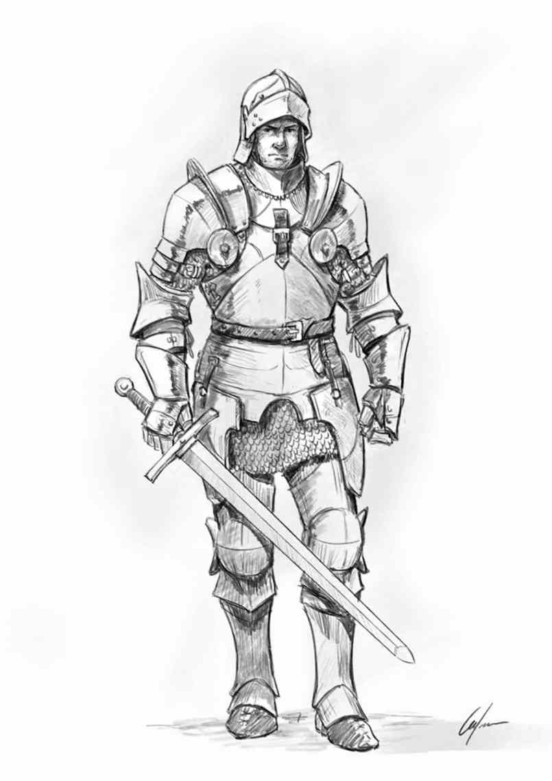 How to draw a knight helmet step by step