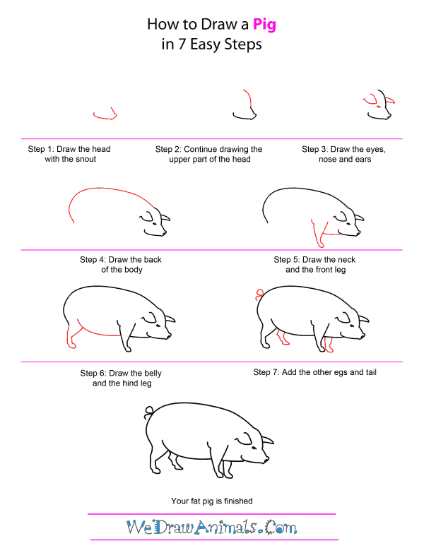 how to draw a pig full drawing free download on clipartmag how draw to pig a