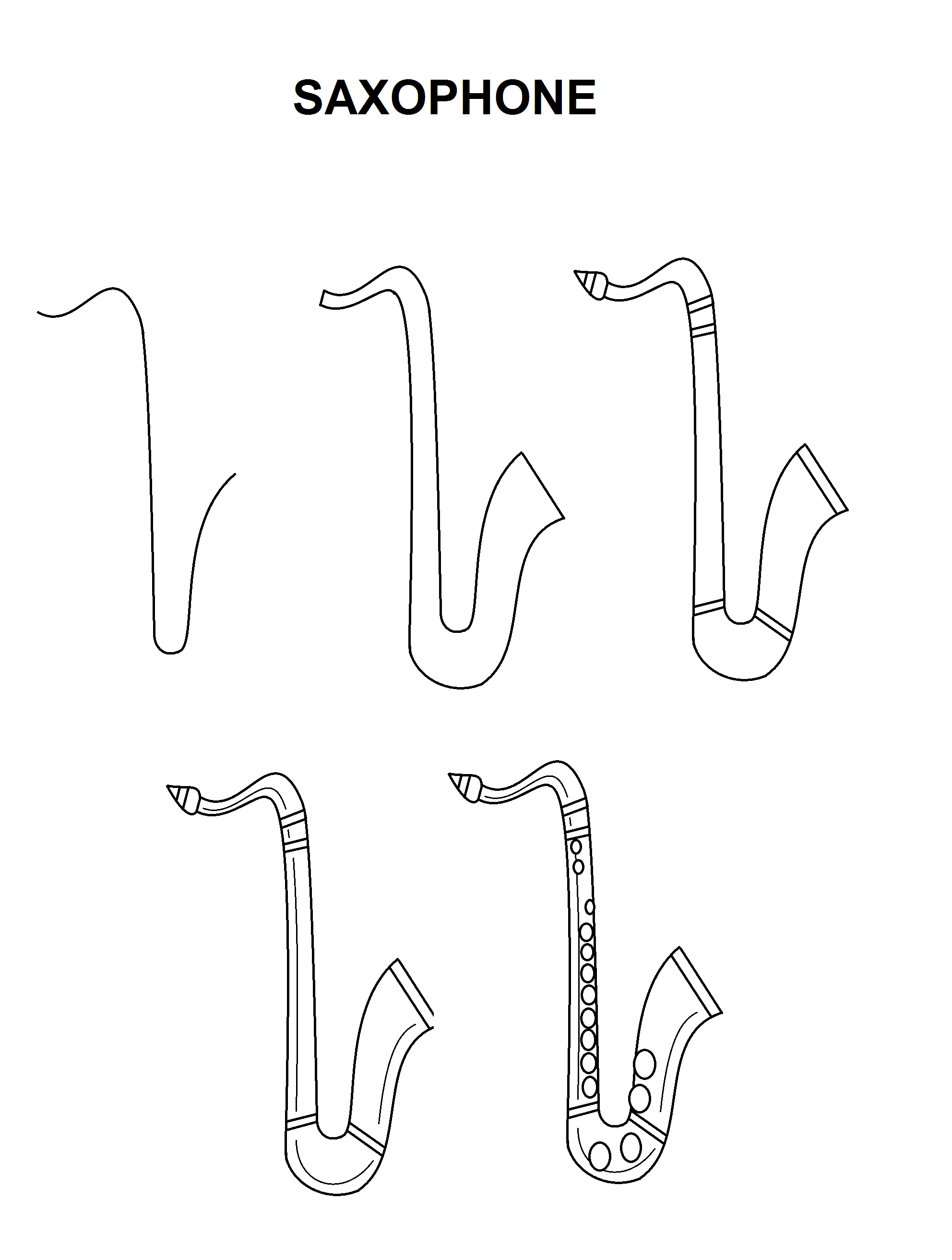How to draw a saxophone easy