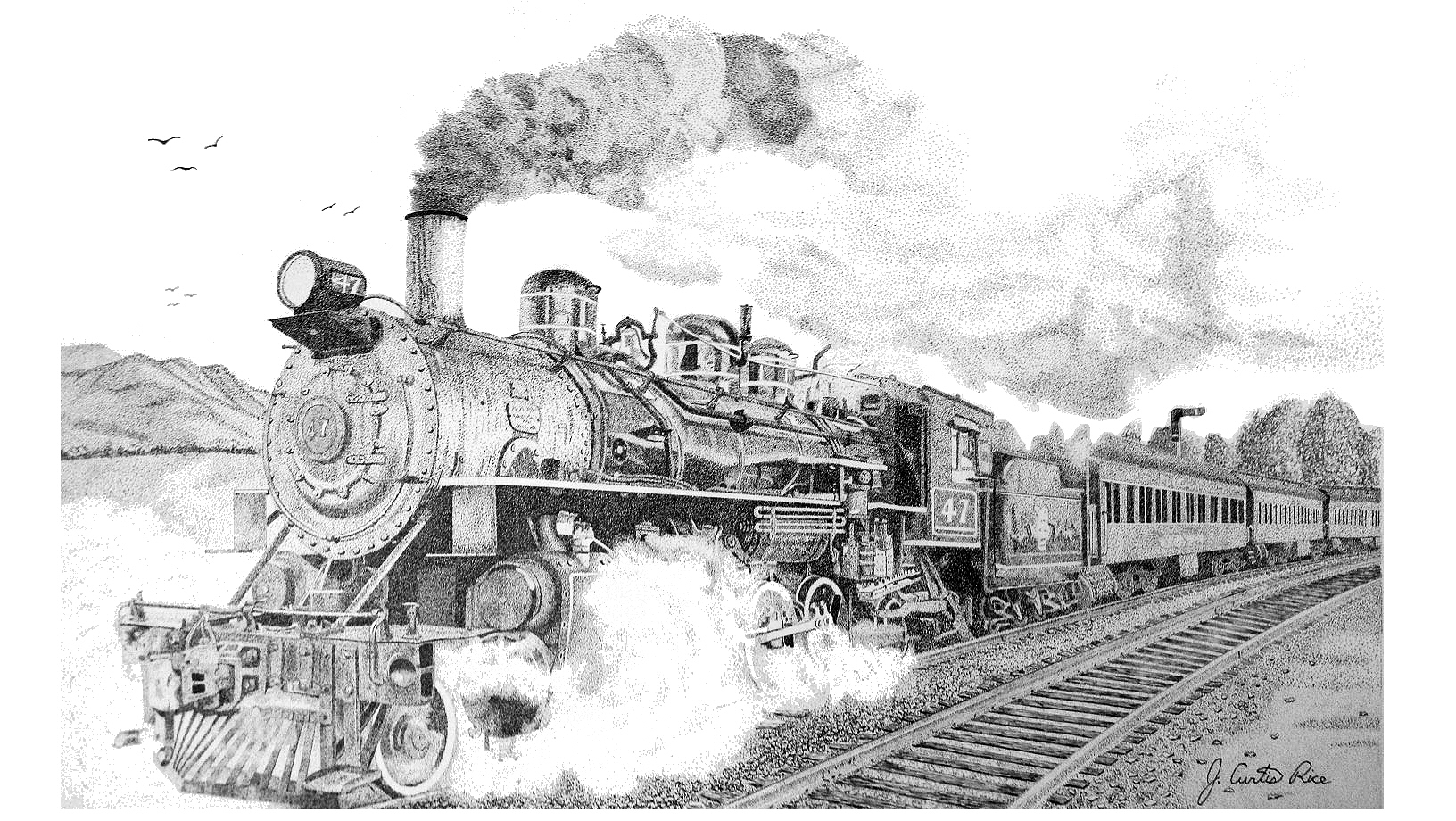 how to draw a steam engine train canvas art print steam locomotive train stippling drawing to a train draw engine how steam