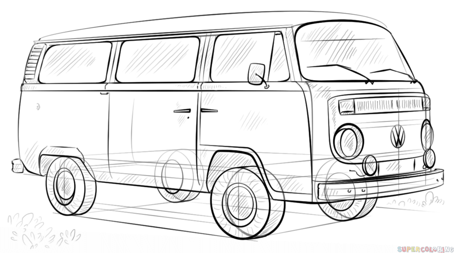 How to draw a volkswagen bus