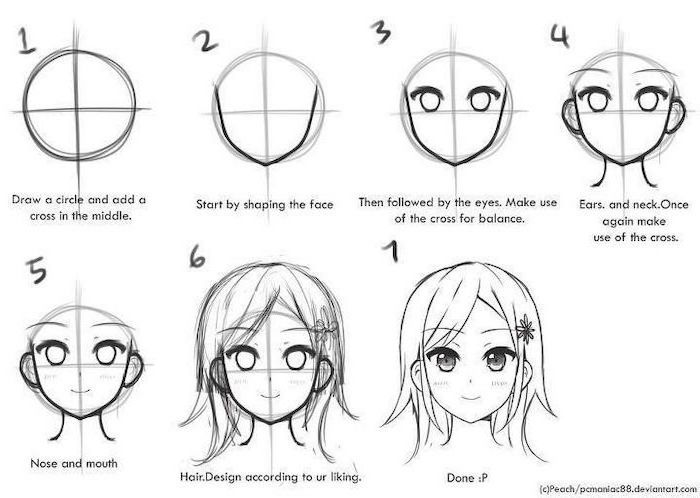 how to draw anime manga step by step how to draw anime and manga hair female animeoutline anime step draw how manga by to step